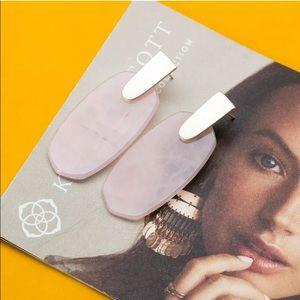 KS Aragon Gold Statement Earrings in Rose Quartz